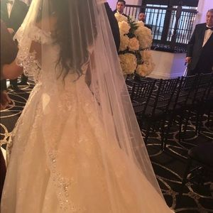 Custom made cathedral two tier veil